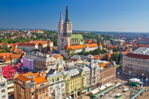 Zagreb main square and cathedral aerial view, Croatia